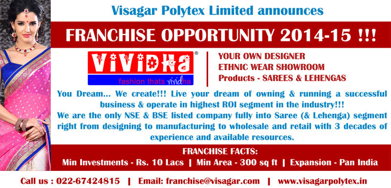 Franchise Opportunity - Saree & Lehenga Showroom VIVIDHA brand - Contact us franchise@visagar.com or call 022-67424815